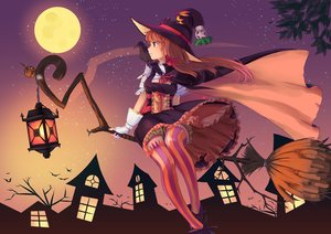 Rating: Safe Score: 115 Tags: animal bat bird bloomers brown_eyes brown_hair dress emuki_(armies_soul) gloves halloween hat leaves long_hair moon original ribbons thighhighs witch witch_hat User: Flandre93