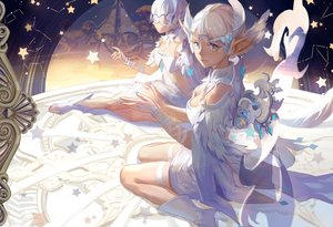 Rating: Safe Score: 69 Tags: 2girls blue_eyes boots dragon_nest feathers garter kirayoci mask pointed_ears short_hair white_hair wings User: FormX