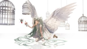 Rating: Safe Score: 46 Tags: aliasing cage dress fajyobore323 green_eyes green_hair hatsune_miku long_hair microphone twintails vocaloid white wings wristwear User: FormX