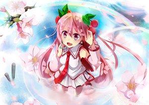 Rating: Safe Score: 69 Tags: cherry cherry_blossoms dress flowers food fruit hatsune_miku petals pink_eyes pink_hair sakura_miku taicho128 tie vocaloid water wet User: opai