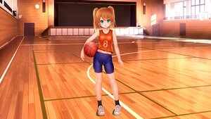 Rating: Safe Score: 21 Tags: aqua_eyes basketball bike_shorts blush brown_hair cameltoe endou_hiroto flat_chest gym_uniform loli original shorts sport third-party_edit twintails User: gnarf1975