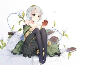 Rating: Safe Score: 44 Tags: an-telin apple book dress flowers food fruit gray_hair green_eyes jpeg_artifacts komeiji_koishi leaves pantyhose short_hair touhou User: BattlequeenYume