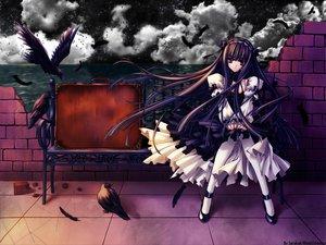 Rating: Safe Score: 51 Tags: animal bird black_hair brown_eyes carnelian dress goth-loli lolita_fashion long_hair original User: Oyashiro-sama