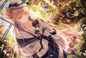 Rating: Safe Score: 103 Tags: arknights bow butterfly ceylon_(arknights) flowers gloves hat junpaku_karen long_hair umbrella yellow_eyes User: BattlequeenYume