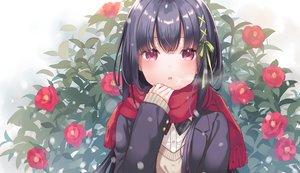 Rating: Safe Score: 76 Tags: black_hair blush flowers kurasawa_moko long_hair original red_eyes ribbons scarf school_uniform snow waifu2x User: BattlequeenYume
