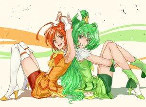Rating: Safe Score: 64 Tags: 2girls green_eyes green_hair hino_akane midorikawa_nao precure smile_precure! thighhighs yamaishi108 User: opai