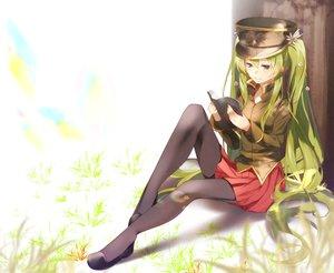 Rating: Safe Score: 34 Tags: 1925_(vocaloid) 83fake black_eyes book grass green_hair hat hatsune_miku long_hair pantyhose skirt twintails vocaloid User: RyuZU
