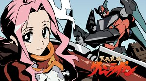 Rating: Safe Score: 15 Tags: darry gainax logo mecha pink_hair robot tagme tengen_toppa_gurren_lagann vector weapon User: Oyashiro-sama