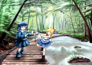 Rating: Safe Score: 13 Tags: blonde_hair blue_eyes blue_hair forest hat horns ibuki_suika kawashiro_nitori ribbons short_hair skirt touhou tree water User: w7382001