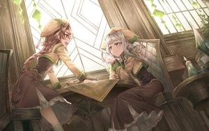 Rating: Safe Score: 49 Tags: 2girls book braids dress hat long_hair original ponytail purple_eyes shichigatsu uniform User: BattlequeenYume