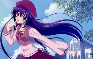 Rating: Safe Score: 34 Tags: hat purple_eyes purple_hair shihou_matsuri sola User: SciFi