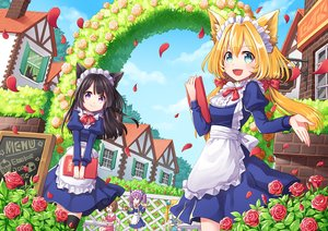 Rating: Safe Score: 51 Tags: animal animal_ears apron aqua_eyes black_hair blonde_hair bow brown_hair cake cat clouds coconat_summer drink fang flowers food group long_hair maid original petals purple_eyes purple_hair rose sky thighhighs twintails waitress User: RyuZU