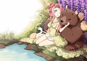 Rating: Safe Score: 76 Tags: animal anthropomorphism bear bird blue_eyes bunny dress flowers fluttershy fucatjiang grass my_little_pony my_little_pony:_friendship_is_magic no_bra pink_hair water wink User: humanpinka