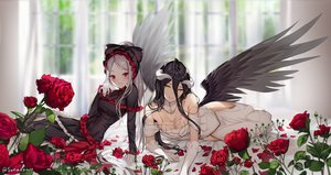 Rating: Safe Score: 81 Tags: 2girls albedo aliasing black_hair blush breasts cleavage dress elbow_gloves flowers gloves goth-loli gray_hair horns lolita_fashion long_hair overlord ponytail red_eyes rose shalltear_bloodfallen signed sunako_(veera) wings yellow_eyes User: BattlequeenYume