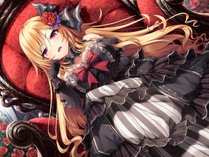 Rating: Safe Score: 108 Tags: blonde_hair blush breast_hold breasts cleavage fang flowers gloves goth-loli hasumi_(hasubatake39) lolita_fashion long_hair original purple_eyes rose User: BattlequeenYume