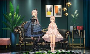 Rating: Safe Score: 44 Tags: 2girls couch goth-loli gray_hair green_eyes lolita_fashion long_hair reflection tagme_(character) tidsean twintails vocaloid vsinger User: BattlequeenYume