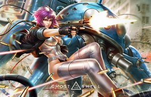 Rating: Safe Score: 94 Tags: bodysuit breasts derrick_chew ghost_in_the_shell ghost_in_the_shell:_stand_alone_complex gloves gun jpeg_artifacts kusanagi_motoko logo purple_hair realistic red_eyes robot short_hair signed tachikoma thighhighs weapon User: RyuZU