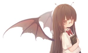 Rating: Safe Score: 25 Tags: blush book bow brown_eyes brown_hair demon dolphro-kun glasses original school_uniform white wings User: BattlequeenYume