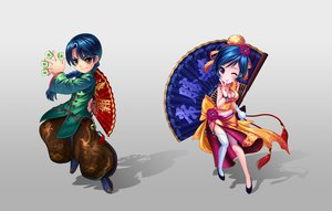Rating: Safe Score: 51 Tags: blue_hair breasts chinese_clothes cleavage diamond_dust fan original wink User: FormX