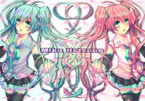 Rating: Safe Score: 20 Tags: hatsune_miku sakura_miku twintails vocaloid User: HawthorneKitty