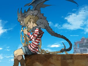 Rating: Safe Score: 22 Tags: boots brown_hair clouds demizu_posuka dragon hoodie long_hair original sky watermark User: otaku_emmy