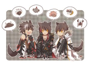 Rating: Safe Score: 16 Tags: all_male animal_ears brown_hair cross elbow_gloves elsword gloves hoodie long_hair male mito_(rscrsc) necklace orange_eyes scar short_hair tagme_(character) tail User: otaku_emmy