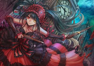 Rating: Safe Score: 303 Tags: bicolored_eyes black_hair bow breasts choker cleavage date_a_live dress gun headdress infukun long_hair tokisaki_kurumi twintails weapon User: FormX