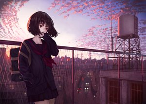 Rating: Safe Score: 66 Tags: black_hair brown_eyes building city clouds original rooftop scenic school_uniform short_hair skirt sky sunset yasukura_(shibu11) User: BattlequeenYume
