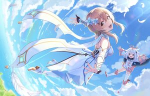 Rating: Safe Score: 22 Tags: 2girls brown_eyes brown_hair clouds dress feathers genshin_impact loli lumine_(genshin_impact) paimon_(genshin_impact) pine_(angel4195202) sky thighhighs white_hair User: BattlequeenYume