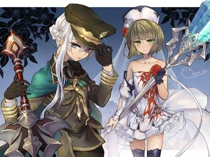 Rating: Safe Score: 16 Tags: blue_eyes cape cosplay dress flowers gloves green_eyes green_hair gretel_(sinoalice) hat male ojo_aa rose short_hair signed sinoalice snow_white_(sinoalice) thighhighs trap weapon white_hair zettai_ryouiki User: RyuZU