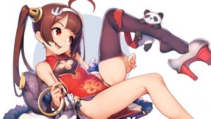 Rating: Safe Score: 80 Tags: animal anthropomorphism ataruman azur_lane bear brown_hair chinese_clothes chinese_dress headband long_hair panda ping_hai_(azur_lane) red_eyes thighhighs twintails User: BattlequeenYume