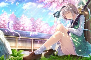 Rating: Safe Score: 89 Tags: bow cherry_blossoms clouds flowers grass gray_hair konpaku_youmu myon petals short_hair skirt sky socks sword tagme_(artist) touhou tree weapon User: RyuZU