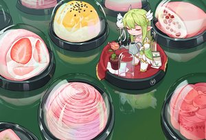 Rating: Safe Score: 25 Tags: animal bird cake chibi dress elsword flowers food fruit green_hair long_hair pointed_ears reflection rena_(elsword) shakan_(pixiv28220363) strawberry thighhighs User: otaku_emmy