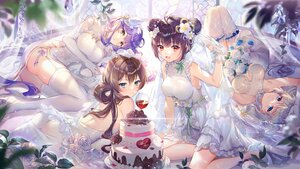 Rating: Safe Score: 93 Tags: ass blush brown_hair cake chinese_clothes chinese_dress dress drink ekita_xuan elbow_gloves flowers food gloves gray_hair group houchi_shoujo long_hair purple_hair rose tagme_(character) twintails wedding_attire User: BattlequeenYume