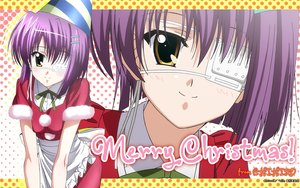 Rating: Safe Score: 5 Tags: apron blush brown_eyes christmas ef ef_a_fairy_tale_of_the_two eyepatch hat purple_hair shindou_chihiro short_hair tagme_(artist) zoom_layer User: RyuZU