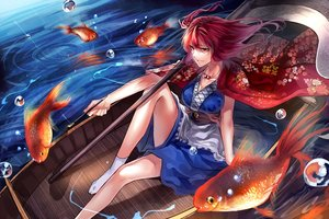 Rating: Safe Score: 120 Tags: animal boat dress fish necklace onozuka_komachi red_eyes red_hair scythe short_hair smoking socks touhou uu_uu_zan water weapon User: Flandre93