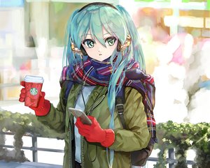 Rating: Safe Score: 48 Tags: drink gloves hatsune_miku headphones phone scarf takepon1123 vocaloid User: FormX