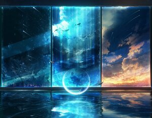 Rating: Safe Score: 60 Tags: animal building city clouds dress fish night original polychromatic scenic sky stars water y_y_(ysk_ygc) User: FormX