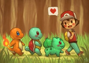 Rating: Safe Score: 15 Tags: black_eyes black_hair bulbasaur charmander forest grass hat heart male pokemon red_(pokemon) ry-spirit short_hair signed squirtle tree User: otaku_emmy