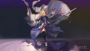 Rating: Safe Score: 93 Tags: armor blonde_hair blue_eyes braids cape fate/apocrypha fate/grand_order fate_(series) jeanne_d'arc_(fate) mask spear sword thighhighs twintails ushas water weapon User: luckyluna