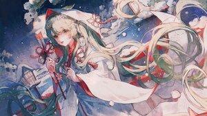 Rating: Safe Score: 43 Tags: green_eyes green_hair hatsune_miku headband hoodie japanese_clothes kimono long_hair maccha_(mochancc) snow vocaloid wedding_attire yuki_miku User: Fepple