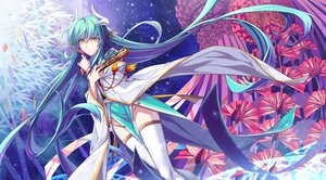 Rating: Safe Score: 87 Tags: aqua_hair fate/grand_order fate_(series) flowers horns japanese_clothes jh kiyohime_(fate/grand_order) long_hair stockings thighhighs yellow_eyes User: Eleanor