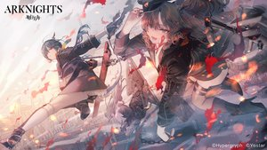 Rating: Safe Score: 34 Tags: arknights armor ch'en_(arknights) clouds fang fire gloves green_eyes green_hair hat hoshiguma_(arknights) logo long_hair red_eyes skirt sky swire_(arknights) sword tail thighhighs twintails ukai_saki weapon User: BattlequeenYume