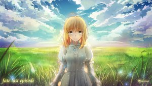 Rating: Safe Score: 109 Tags: artoria_pendragon_(all) blonde_hair clouds dress fate_(series) fate/stay_night grass green_eyes landscape magicians saber scenic signed sky User: Flandre93
