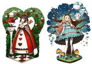 Rating: Safe Score: 59 Tags: 2girls alice_in_wonderland alice_(wonderland) animal blonde_hair breast_hold breasts brown_hair cape cat cheshire_cat choker cleavage dress flowers gloves headband instrument long_hair pantyhose queen_of_hearts rabbit rose short_hair staff tree white_rabbit yellow_eyes yuu_(higashi_no_penguin) User: Dreista