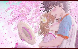 Rating: Safe Score: 31 Tags: black_hair blush brown_eyes brown_hair cherry_blossoms hat hug kamijou_touma male misaka_mikoto petals short_hair tagme_(artist) to_aru_kagaku_no_railgun to_aru_majutsu_no_index User: RyuZU
