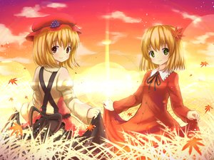 Rating: Safe Score: 49 Tags: 2girls aki_minoriko aki_shizuha autumn blonde_hair dress grass green_eyes hakuto_(28syuku) hat leaves red_eyes ribbons short_hair touhou twins User: C4R10Z123GT