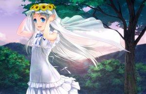 Rating: Safe Score: 65 Tags: ano_hi_mita_hana_no_namae_wo_bokutachi_wa_mada_shiranai blue_eyes dress flowers headdress honma_meiko long_hair moonknives ribbons tree white_hair User: gnarf1975