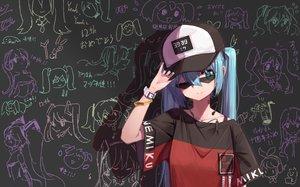 Rating: Safe Score: 68 Tags: hat hatsune_miku nejikyuu sunglasses vocaloid User: FormX
