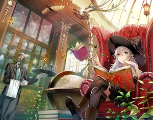 Rating: Safe Score: 102 Tags: bones book boots butterfly couch gloves green_eyes hat kirinosuke long_hair mage original thighhighs white_hair witch witch_hat User: RyuZU